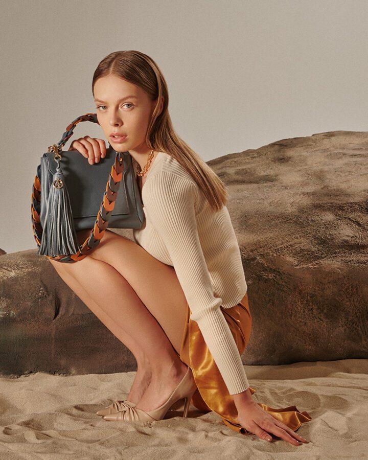 Brooklyn Leather Shoulder Bag - Grey