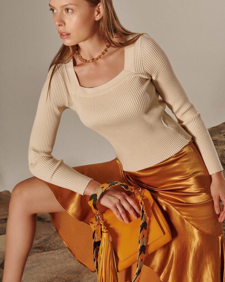 Brooklyn Leather Shoulder Bag - Mustard Yellow